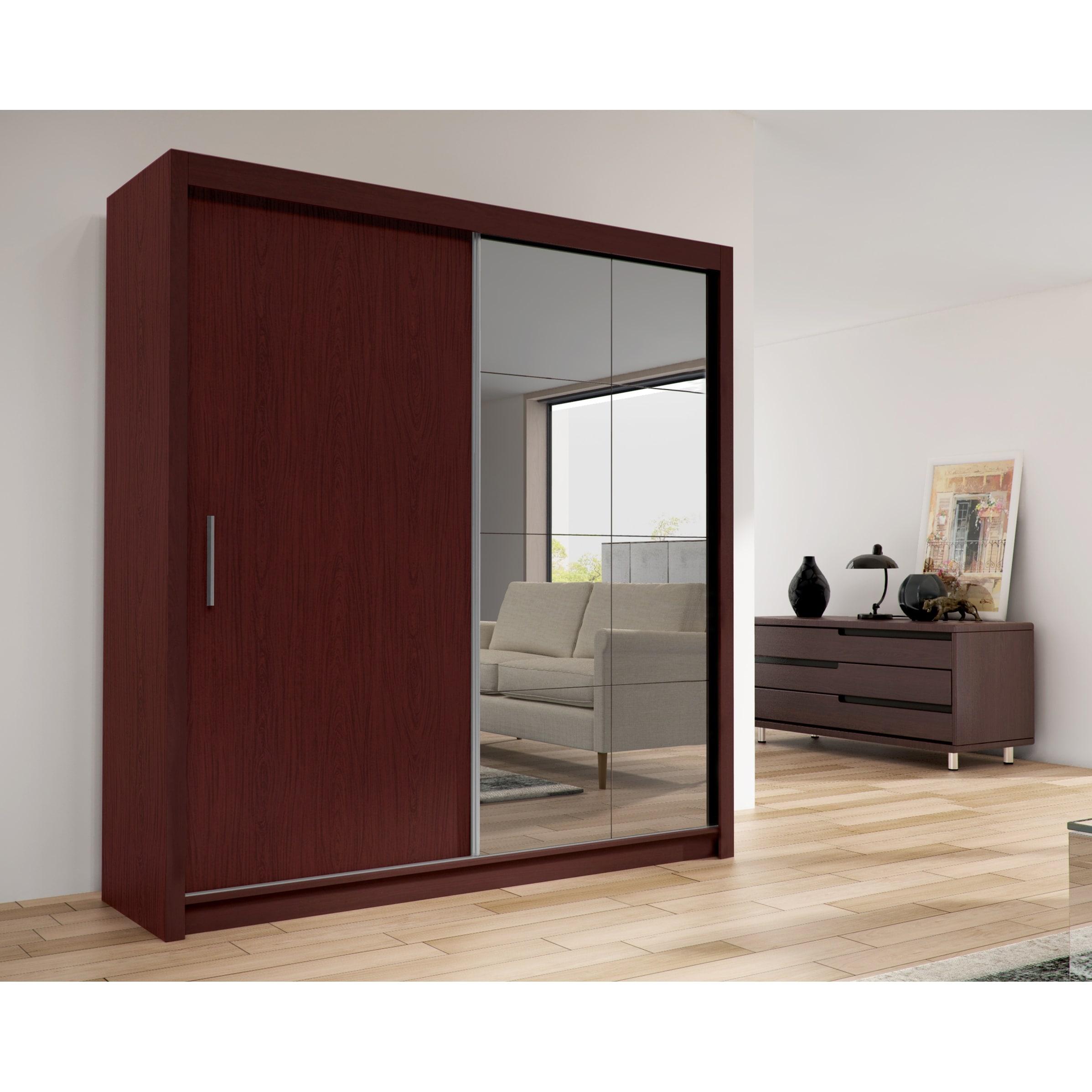 Shop Cedar 2 Door Solid Wood Modern Wardrobe Armoire With Mirror Espresso 59 Wide N A Overstock 30860325