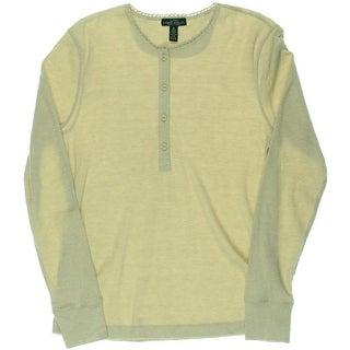 LRL Lauren Jeans Co. Womens Pullover Top Crochet Trim Thermal