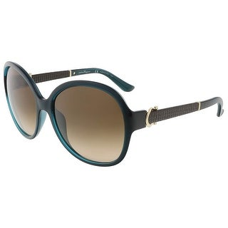 Salvatore Ferragamo SF764SL 321 Petrol Green Oversized sunglasses
