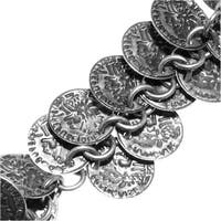 Bulk Chain, with 10mm Ancient Coin Charm Links, Sold By The Inch, Antiqued Silver Plated