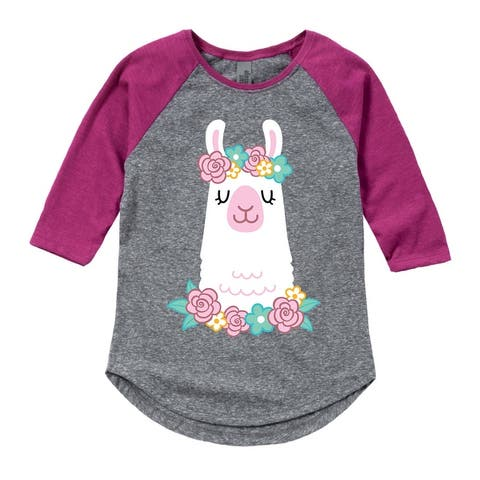 Llama Flower Crown - Toddler Girl Shirt Tail Raglan - Athletic/Fuchsia