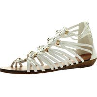 Forever Rebel-15 Womens Back Zip Strappy Gladiator Wedge Sandals - White