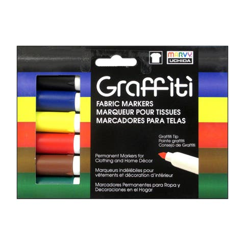Uchida Graffiti Fabric Marker Set Primary 6pc