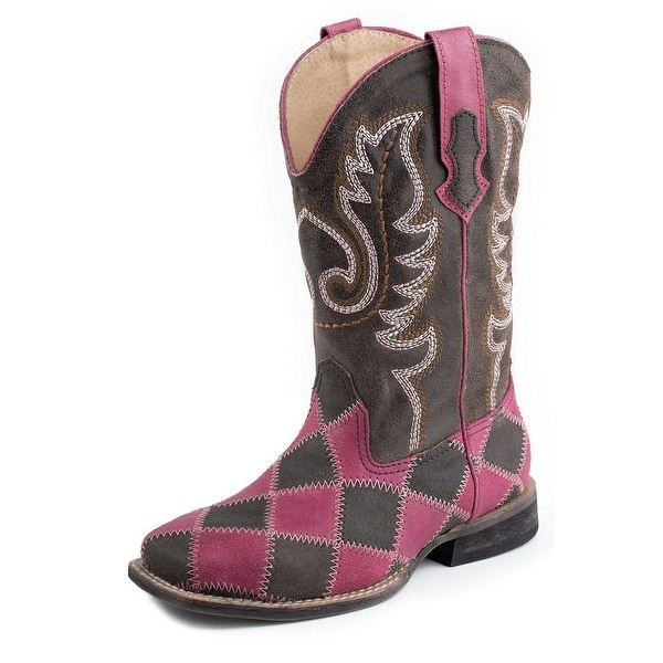 Roper Western Boots Womens Patchwork Eagle Pink