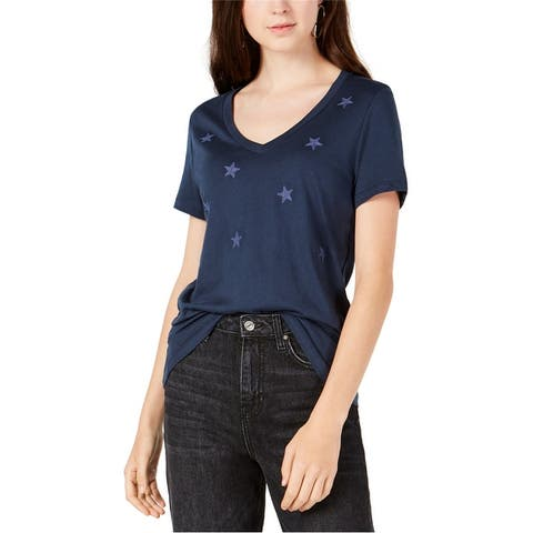 Carbon Copy Womens Embroidered Stars Embellished T-Shirt