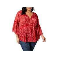 Lucky Brand Womens Plus Peasant Top Lace Trim Printed