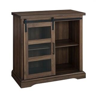 "Delacora WE-BDF32ALGD  32"" Wide 4 Shelf Laminate Modern Accent Cabinet with Tempered Glass Sliding Door"