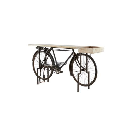 """Large Natural Wood Top And Black Metal Bicycle Bar With Tray 73"""" X 37"""" - 76 x 16 x 37"""
