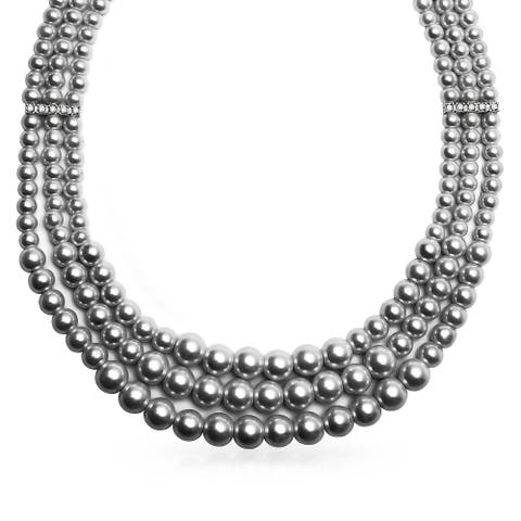 3 Multi Strand Grey Imitation Pearl Collar Necklace For Women Crystal Bar Spacer