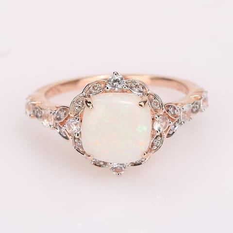 Miadora 10K Rose Gold White Sapphire and Diamond Halo Engagement Ring