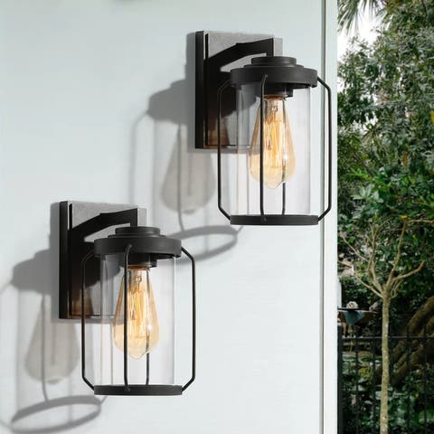 """2 Pack Black Outdoor Wall Sconce 1-Light Clear Glass Exterior Lighting - L 4.5""""x W 6.5""""x H 10"""""""