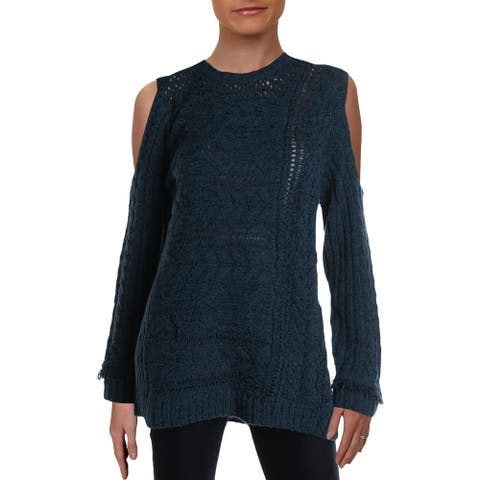Love Scarlett Womens Pullover Sweater Cold Shoulder Cable - L