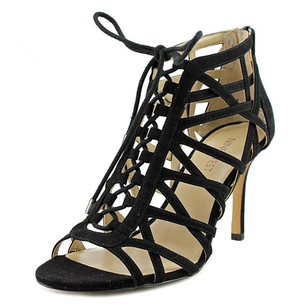 Nine West Daniell Women Open Toe Suede Black Sandals