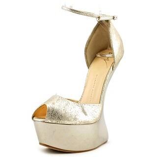 Giuseppe Zanotti Jem Women Open Toe Leather Gold Wedge Heel