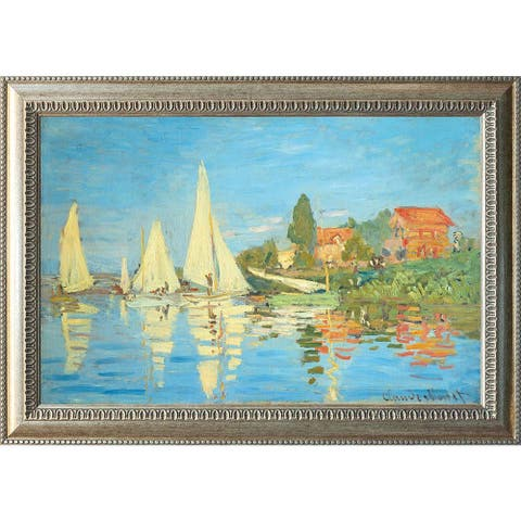 """Regatta at Argenteuil by Claude Monet Oil Painting Silver Frame 29"""" x 20"""""""