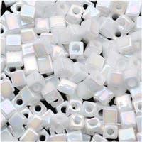 Miyuki 4mm Glass Cube Beads Opaque White AB 402R 10 Grams