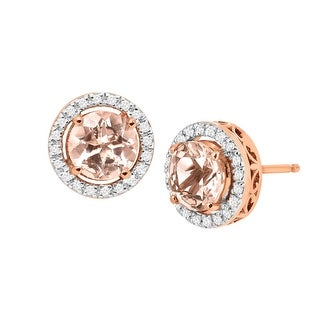 1 1/2 ct Natural Morganite & 1/8 ct Diamond Halo Stud Earrings in 14K Rose Gold - Pink
