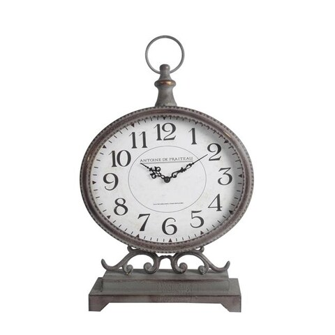 Privilege 27124 Iron Table Clock, 12.5 x 5 x 19.5 in.
