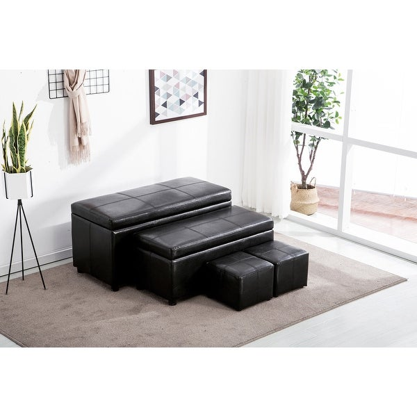 4pc Storage Ottoman Folding Leather Shoe Bench Bench Foot Rest