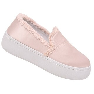 Weeboo Adult Blush Pink Laceless Raw Edge Slip-On Fashion Sneakers