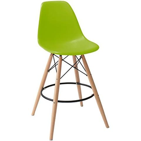 """2xHome Green 25"""" Armless Bar Stool Chair With Dowel Natural Wood Eiffel Style Legs"""