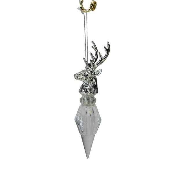 "6.25"" Icy Crystal Color Changing LED Silver Deer Head Christmas Tree Icicle Ornament"