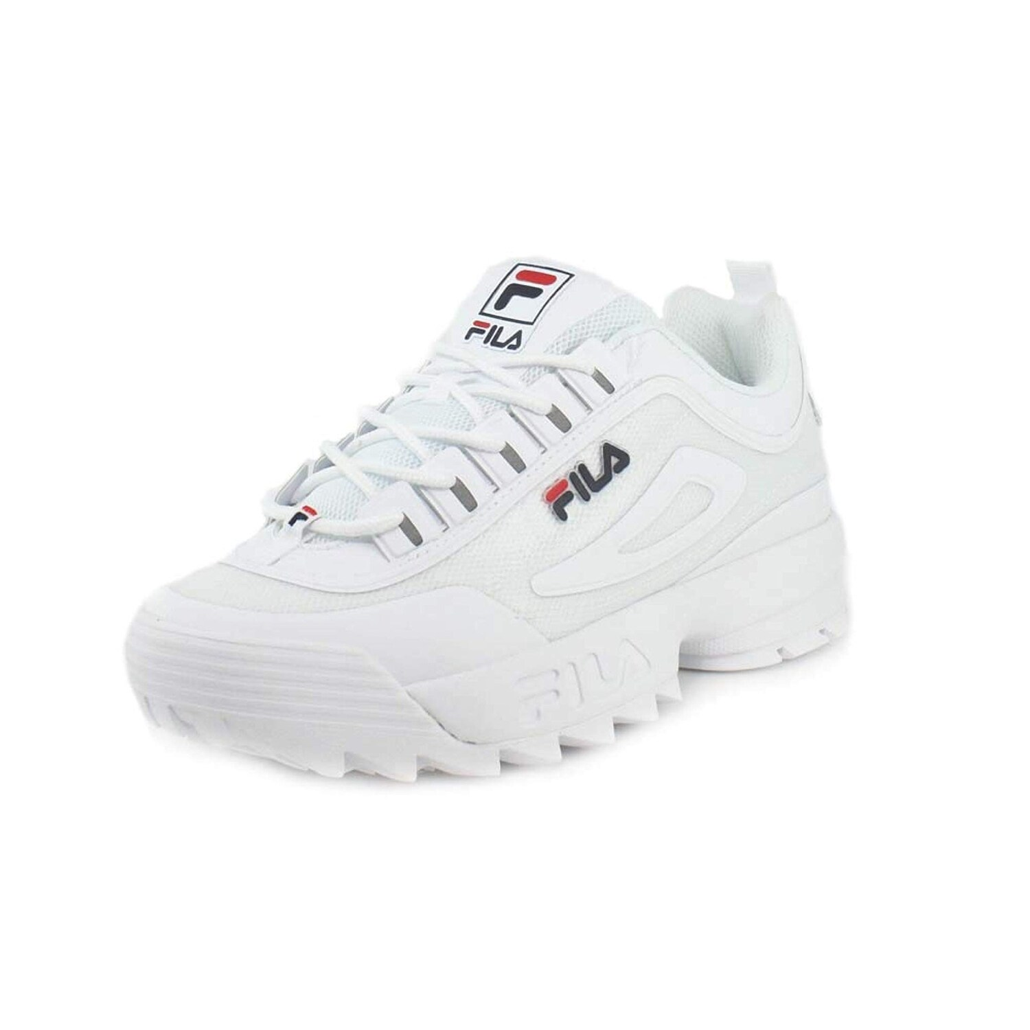 Fila Men's Disruptor Ii Premium Red White Navy Ankle High Patent Leather Sneaker 10M