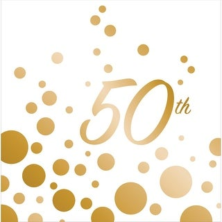 "Club Pack of 192 Sparkle and Shine Gold ""50th"" Anniversary Paper Party Disposable 2-Ply Lunch Napkins 6.5"""