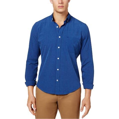 IZOD Mens Check Button Up Shirt, Blue, XX-Large