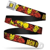 Marvel Comics Iron Man Face Full Color Red Yellow The Invincible Iron Man Seatbelt Belt