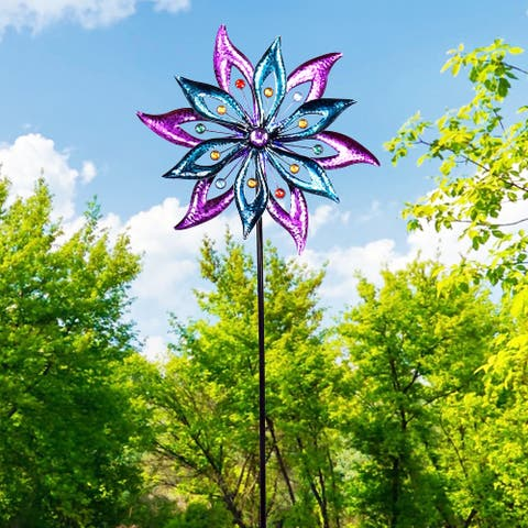 Alpine Corporation Dual Floral Windmill Stake with Gems