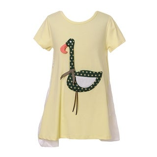 Richie House Girls' Sweet T-shirt with Swan Applique