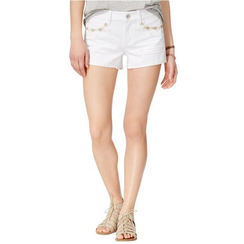 Rewash Womens Embroidered Casual Denim Shorts