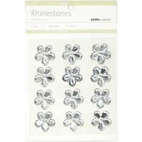 Silver - Self-Adhesive Flower Rhinestones 12/Pkg