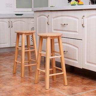 Costway Set of 2 Round 24'' Bar Stools Wood Bistro Dining Kitchen Pub Chair Furniture