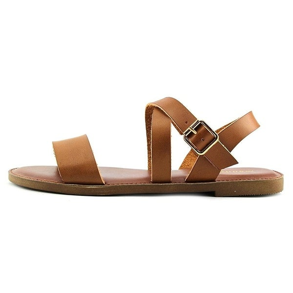 Madden Girl Womens Briiii Open Toe Casual Ankle Strap Sandals Cognac Size 8.0