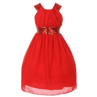 Cinderella Couture Little Girls Red Dazzling Sequin Pleated Dress 4-6