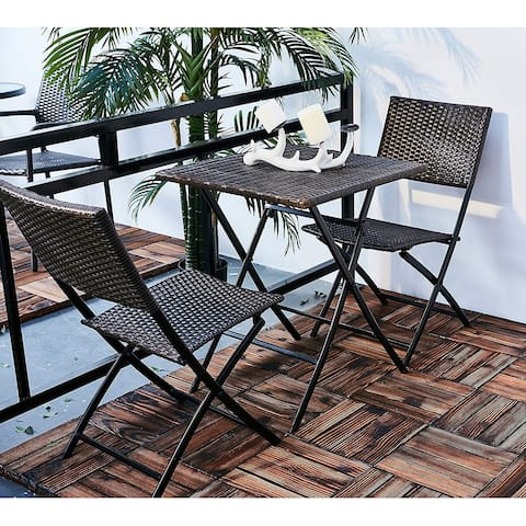 3 Piece Foldable Grand Patio Rattan Outdoor Bistro Set
