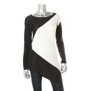 NY Collection Womens Pullover Sweater Colorblock Asymmetric