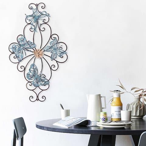 ADECO Flower Butterfly Urban Design Metal Wall Decor Nature Home Art