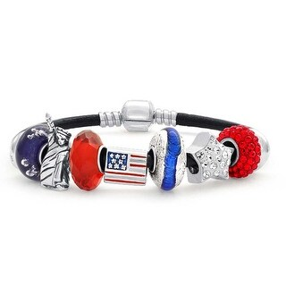Bling Jewelry 925 Sterling Silver Patriotic American USA Flag Star Charm Bracelet