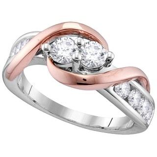 14kt Two-tone Gold Womens Round Natural Diamond EGL 2-stone Bridal Wedding Engagement Ring 1.00 Cttw - White