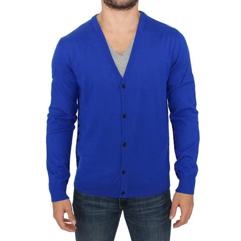 Galliano Blue wool cardigan Men's sweater