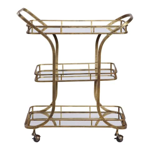 """Uttermost 24876 Stassi 33"""" Wide 3 Shelf Iron Serving Cart with Casters - Antique Gold"""