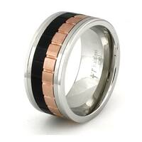 Tri-Tone Stainless Steel Contemporary Spinner Ring