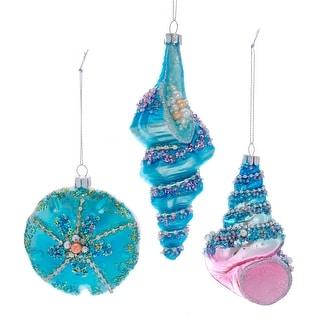 Kurt Adler Blue Seashells Encrusted  Holiday Ornaments Set of 3 Glass