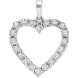 Heart Pendant 925 White Gold Tone Silver With Diamonds 0.25Ctw By MidwestJewellery