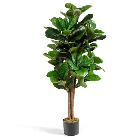 Gymax 5Ft Fiddle Leaf Fig Tree Artificial Greenery Plant Home Office