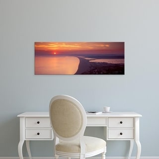 Easy Art Prints Panoramic Images's 'Chesil beach at sunset, Portland, Dorset, England' Premium Canvas Art