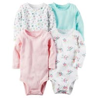 Carter's Baby Girls' 4-Pack Long-Sleeve Original Bodysuits, 12 Months - White Floral